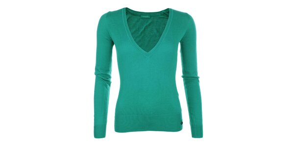Dámsky tyrkysový sveter s véčkovým výstrihom Phard