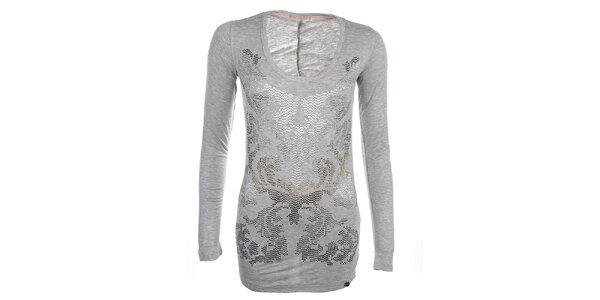 Dámske svetlo šedé predĺžené tričko s dekoratívnou aplikáciou Phard