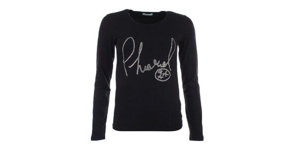 Dámske čierne tričko s dlhým rukávom a kamienkovým nápisom Phard