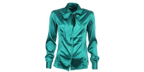 Dámska leská košeľa s kravatou v zelenom prevedení Phard
