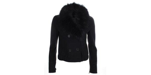 Dámsky čierny kabátik s kožušinkou Phard