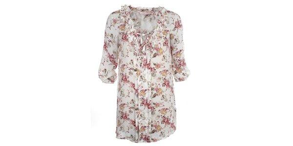 Dámske biele kvetované šaty so spodničkou Phard