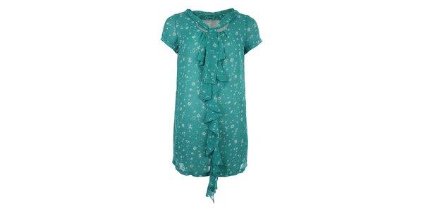 Dámske zelené šaty so vzorom a volánom Phard
