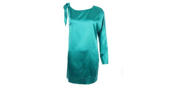 Dámske tyrkysové šaty s jedným rukávom Phard