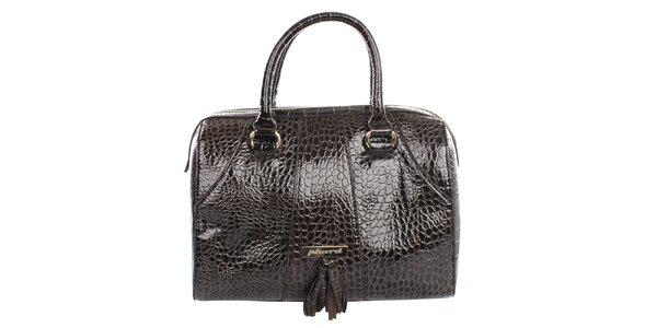 Dámska tmavo hnedá kabelka so šupinkami Phard