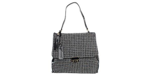 Dámska čierna kabelka so svetlým štvorcovým vzorom Phard