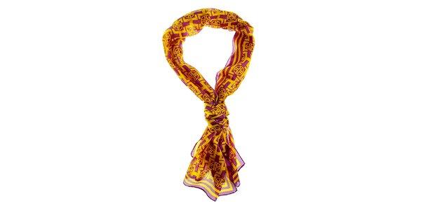 Dámsky fialovo-žltý hedvábný šál Hope so vzorom značky