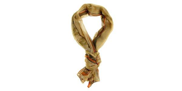 Dámsky béžovo-hnedý šál Hope s královským motívom