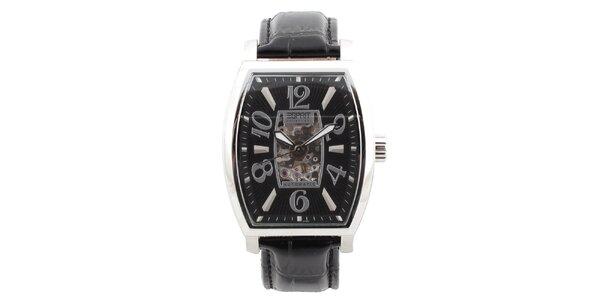 Pánske oceľové hodinky s čiernym koženým remienkom Esprit