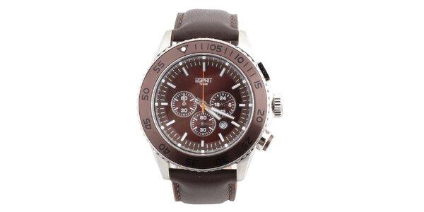 Pánske hnedé hodinky s okrúhlym tmavým ciferníkom Esprit
