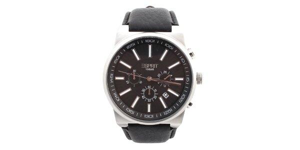 Pánske hodinky s okrúhlym tmavým ciferníkom Esprit