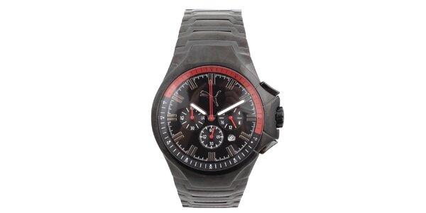 Pánske čierne hodinky s chronografom Puma