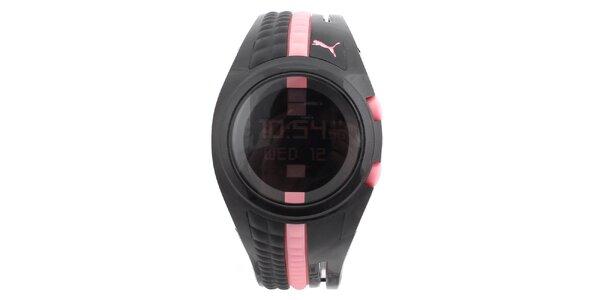 Dámske čierne digitálne hodinky s ružovými prvkami Puma