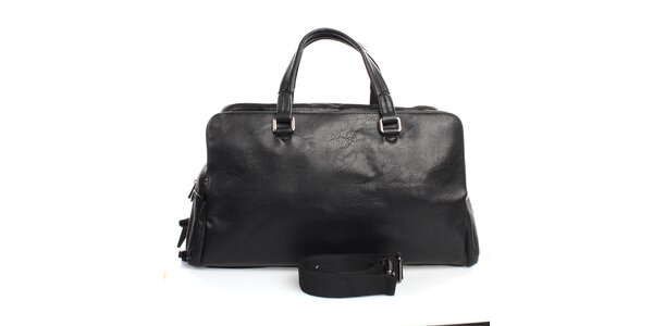 Čierna taška s tromi vreckami na zips Bobby Black
