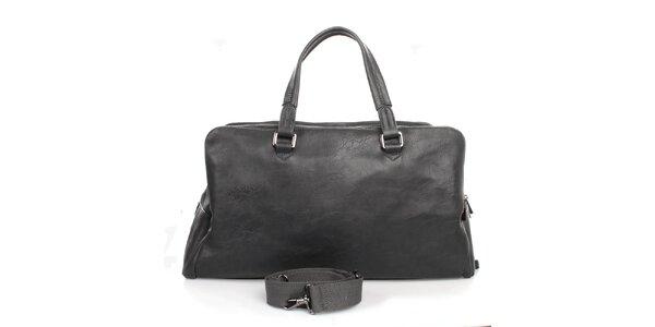 Antracitová taška s tromi vreckami na zips Bobby Black