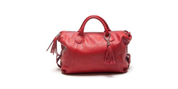Dámska červená kabelka so strapcami Mangotti
