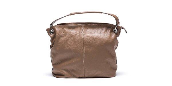 Dámska hnedá kabelka s vonkajším vreckom Mangotti