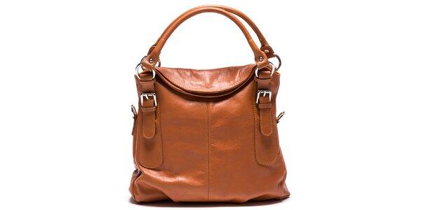 Dámska svetlo hnedá kožená kabelka Mangotti