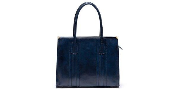 Dámska kožená kabelka s pevnými ušami v modrej farbe Mangotti