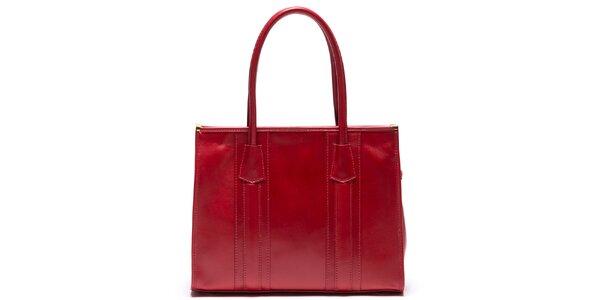 Dámska kožená kabelka s pevnými ušami v červenej farbe Mangotti
