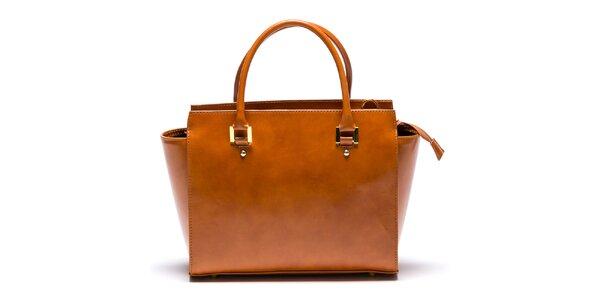 Dámska kožená svetlo hnedá kabelka so zipsovou vreckom Mangotti