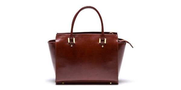 Dámska kožená hnedá kabelka so zipsovou vreckom Mangotti