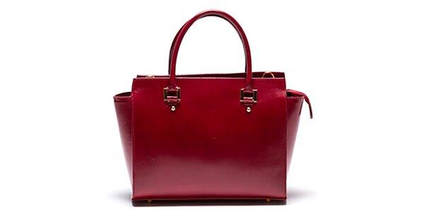 Dámska kožená červená kabelka so zipsovou vreckom Mangotti