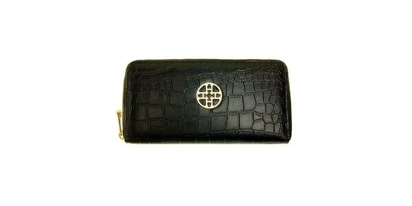 Dámska čierna kožená peňaženka Hope s haďou štruktúrou