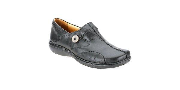 Dámske čierne topánky s gombíkom Clarks