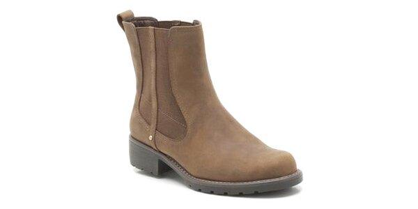 Dámske hnedé topánky s elastickou vsadkou Clarks