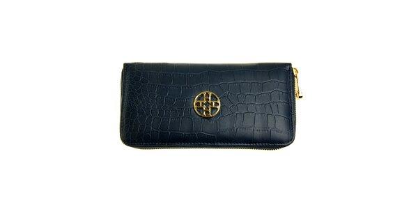 Dámska tmavo modrá kožená peňaženka Hope s haďou štruktúrou