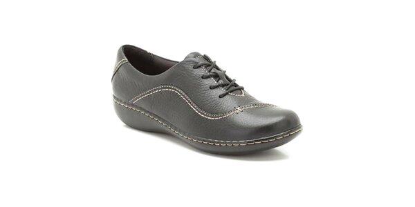 Dámske čierne prešívané kožené topánky Clarks