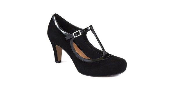 Dámske čierne semišové retro topánky Clarks