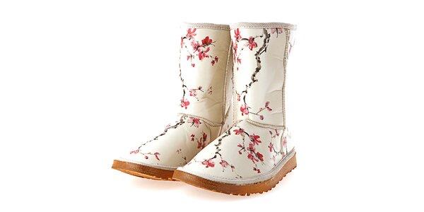 Dámske béžové topánky s potlačou sakurových vetvičiek Elite Goby
