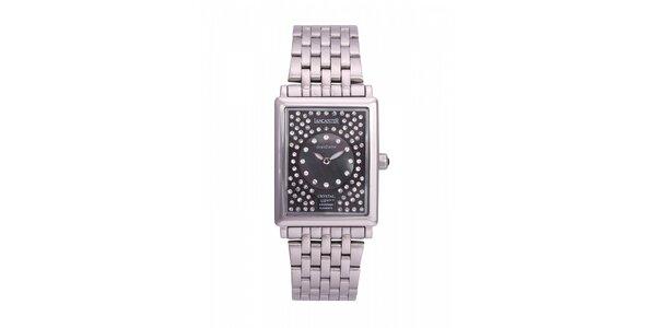 Dámske oceľové hodinky Lancaster s čiernym ciferníkom a kryštálmi