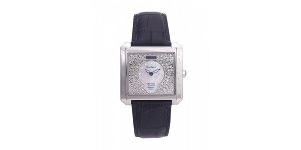 Dámske oceľové hodinky Lancaster s kryštálmi a tmavo modrým koženým remienkom