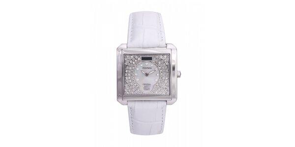 Dámske oceľové hodinky Lancaster s kryštálmi a bielym koženým remienkom