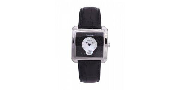 Dámske oceľové hodinky Lancaster s kryštálmi a čiernym koženým remienkom