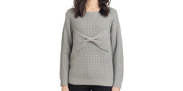 Dámsky pletený šedý sveter s mašľou Compania Fantastica