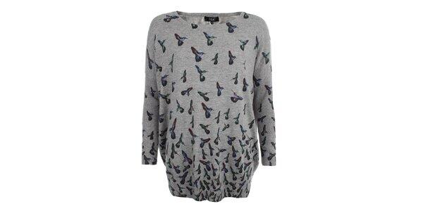 Dámsky šedý svetrík s farebnými kolibríkmi Iska