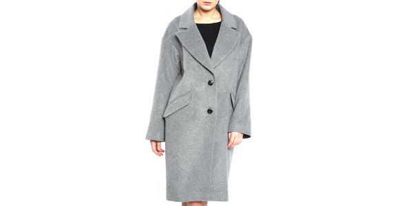 Dámsky sivý kabát s čiernymi gombíkmi Vera Ravenna