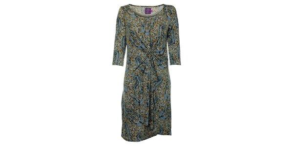 Dámske modro-hnedé šaty Hope s kvetinovým vzorom