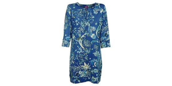 Dámske modré šaty Hope s kvetinovým vzorom