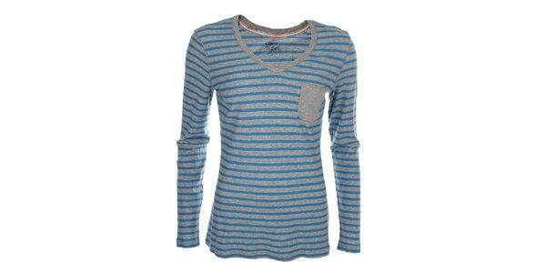 Dámske modro-šedé pruhované tričko Tommy Hilfiger