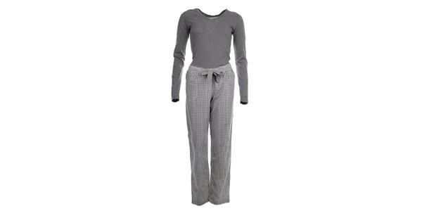 Dámske pyžamo - tričko s dlhým rukávom a nohavice s kockami Tommy Hilfiger