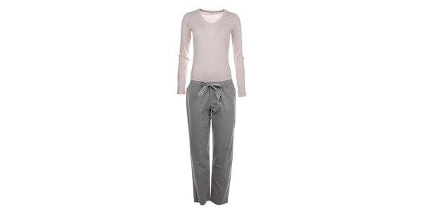 Dámske pyžamo - tričko s dlhým rukávom a bodkované nohavice Tommy Hilfiger