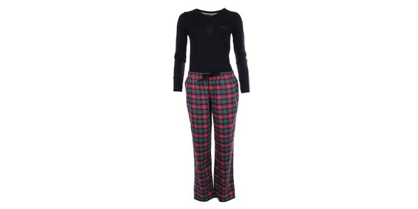Dámske pyžamo - tričko s dlhým rukávom a kockované nohavice Tommy Hilfiger