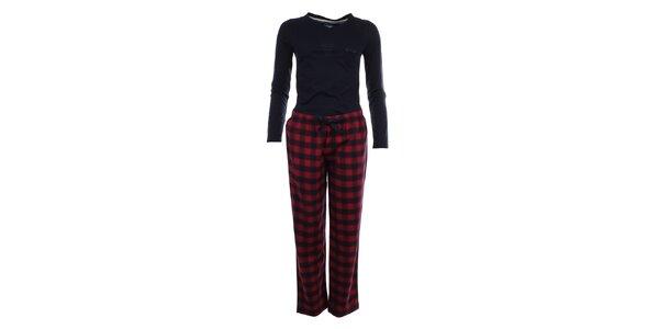 Dámske pyžamo - tričko s dlhým rukávom a kárované nohavice Tommy Hilfiger