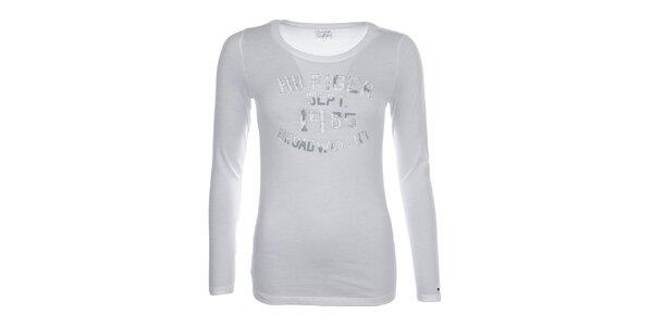 Dámske biele tričko s potlačou na hrudi Tommy Hilfiger