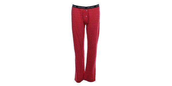 Dámske červené pyžamové nohavice s bielymi bodkami Tommy Hilfiger